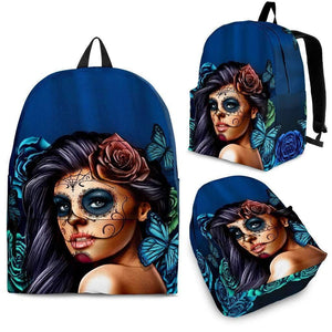 Calavera Girl Backpacks-Backpack - Black - Calavera Blue-PP.1834426-Shopeholic