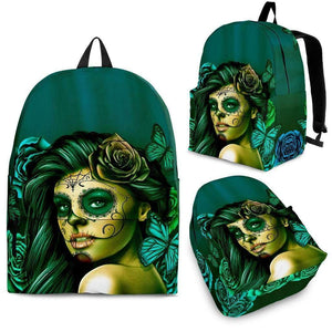 Calavera Girl Backpacks-Backpack - Black - Calavera Green-PP.1834429-Shopeholic