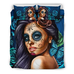 Calavera Girl Bedding Sets-PP.5425856-Bedding Set - Black - Calavera Girl - Blue - Black Back-Shopeholic