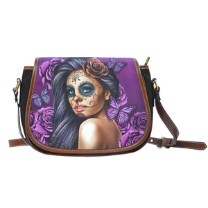 Calavera Girl - Canvas Leather Trim Saddle Bag-Calavera Girl - Purple-PP.1904645-Shopeholic