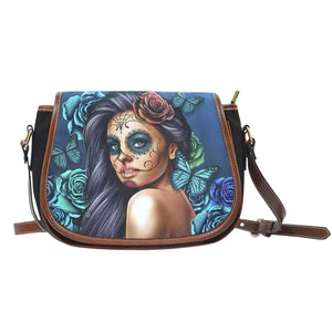 Calavera Girl - Canvas Leather Trim Saddle Bag-Calavera Girl - Blue-PP.1904646-Shopeholic