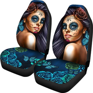 Shopeholic:Calavera Girl - Blue - Car Seat Covers