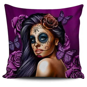 Calavera Girl - Pillow Covers-Calavera Girl 1 - Purple-PP.1095099-Shopeholic