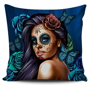 Calavera Girl - Pillow Covers-Calavera Girl 1 - Blue-PP.1095100-Shopeholic