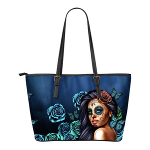 Calavera Girl - Small Leather Tote Bags-Calavera Girl 1 - Blue-PP.1208226-Shopeholic