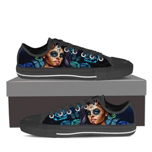 Calavera Girl - Women's Low Top Canvas Shoes-Womens Low Top - Black - Calavera Girl - Blue - Black Sole-PP.1919392-Shopeholic