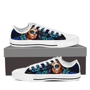 Calavera Girl - Women's Low Top Canvas Shoes-Womens Low Top - White - Calavera Girl - Blue - White Sole-PP.1919400-Shopeholic
