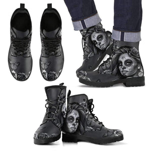 Calavera MEN's Leather Boots-Men's Leather Boots - Black - Calavera Black & White-PP.3647574-Shopeholic
