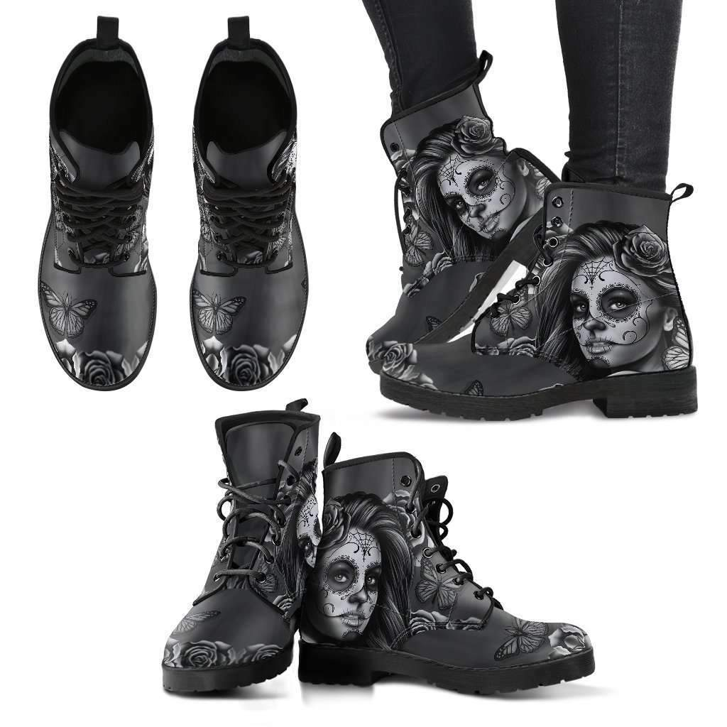 Calavera Women's Leather Boots-Women's Leather Boots - Black - Calavera Black & White-PP.3615074-Shopeholic