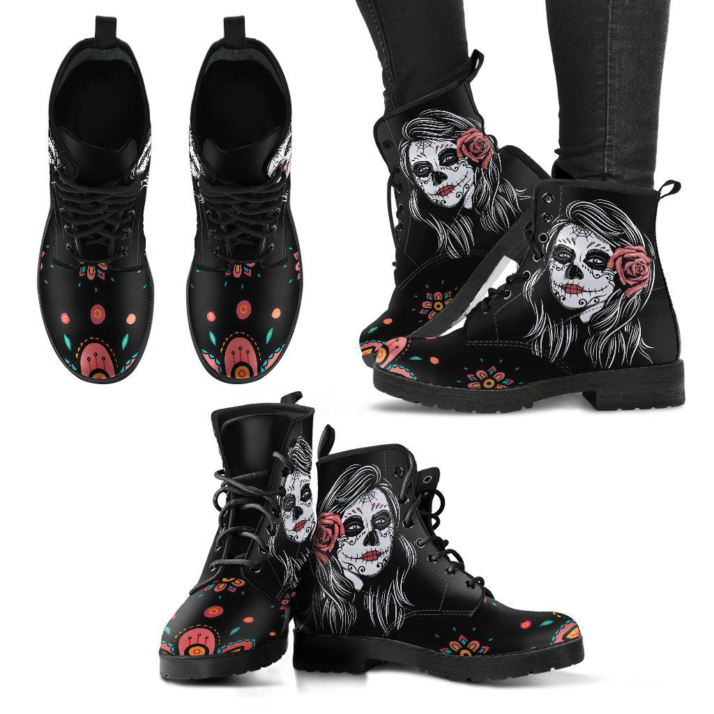 Shopeholic:Calavera Black Women's Handcrafted Premium Boots