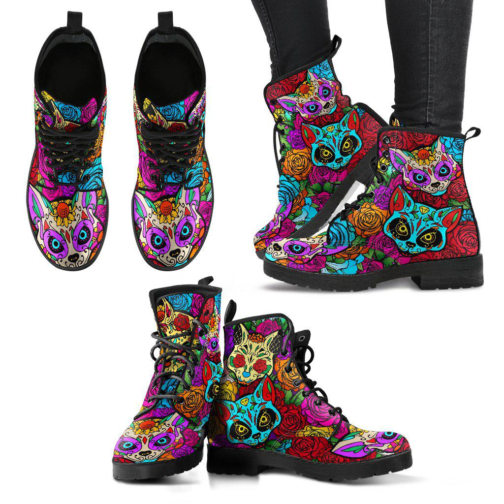 Shopeholic:Sugar Skull Cat Women's Handcrafted Premium Boots