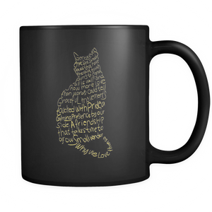 Cat Lovers Black Mug 11oz - Gold Texts-Cat Lovers Black Mug 11oz - Gold Text-P211-Shopeholic