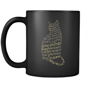 Cat Lovers Black Mug 11oz - Gold Texts-Shopeholic
