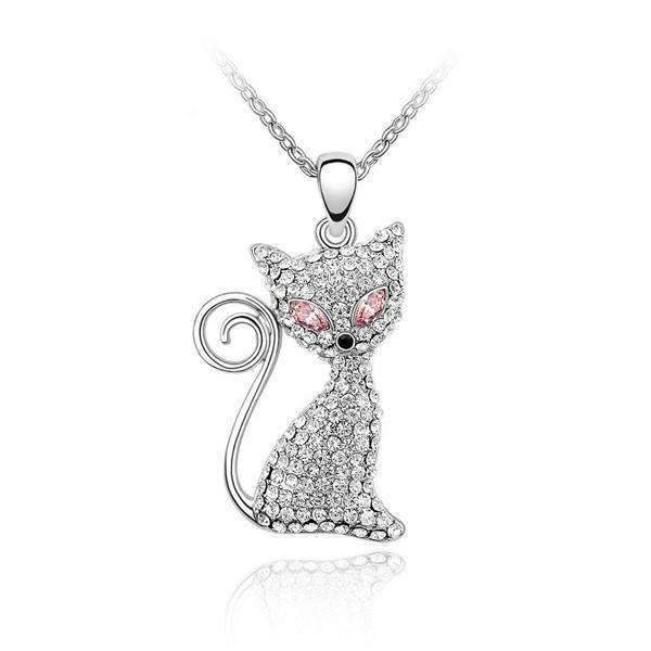 Crystal Cat Pendant Necklace-Pink-Crystal Cat Pendant Necklace-1-Shopeholic