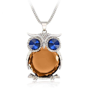 Crystal Owl Pendant Necklace-Silver Champagne-Crystal Owl Pendant Necklace-2-Shopeholic