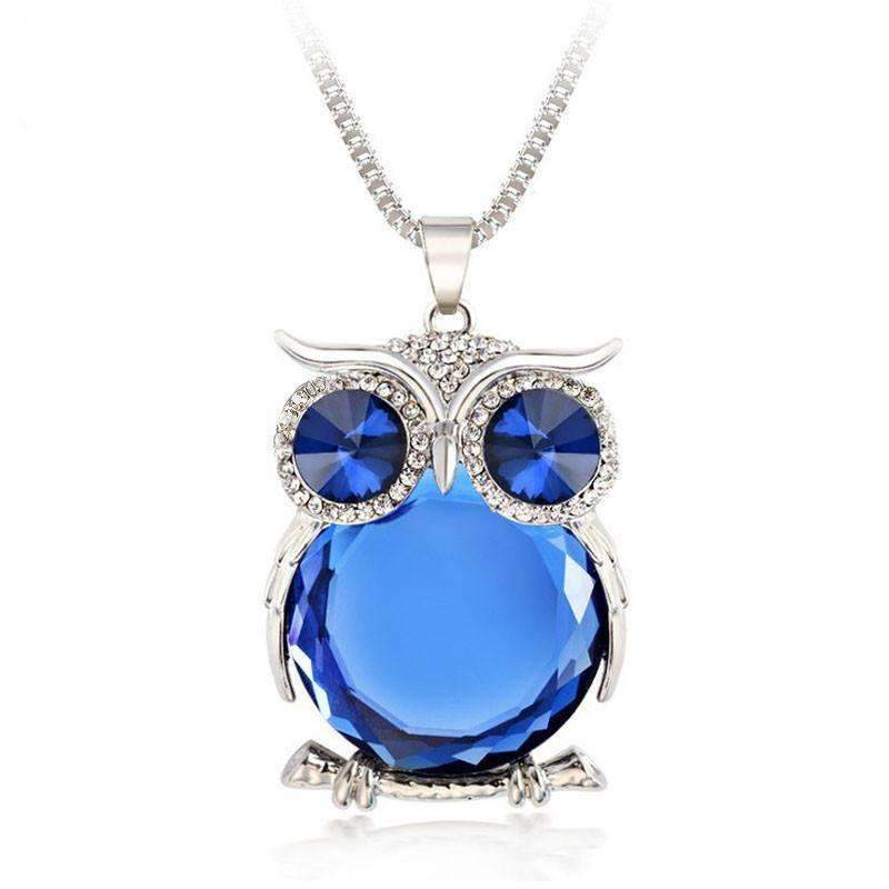 Crystal owl pendant necklace shopeholic crystal owl pendant necklace silver blue owl crystal pendant necklace 1 shopeholic mozeypictures Image collections