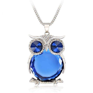 Crystal Owl Pendant Necklace-Silver Blue-Owl Crystal Pendant Necklace-1-Shopeholic