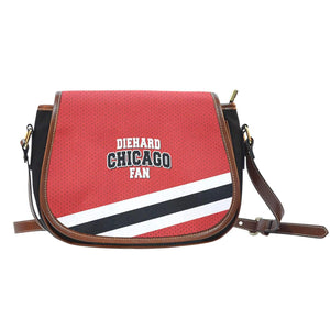 Diehard Chicago Fan - Leather Trim Saddle Bag-Shopeholic