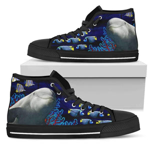 Dolphin - Men's High Top Canvas Shoes-Mens High Top - Black - Dolphin 1-PP.2546441-Shopeholic