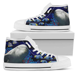 Dolphin - Men's High Top Canvas Shoes-Mens High Top - White - Dolphin 2-PP.2546450-Shopeholic