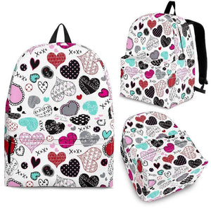 Doodle Hearts Backpack-Shopeholic
