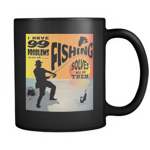 Shopeholic:Fishing Solves Problems - Black Mug 11oz