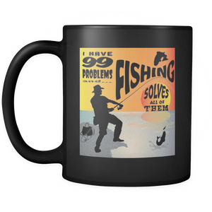 Fishing Solves Problems - Black Mug 11oz-Shopeholic