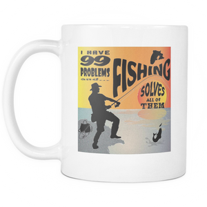 Fishing Solves Problems - White Mug 11oz-Shopeholic