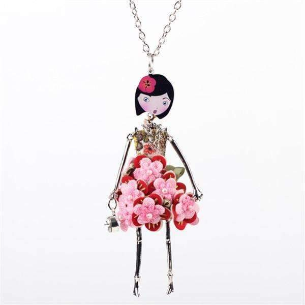 Flower Doll Fashion Necklace-Red-Flower Doll Fashion Necklace-1-Shopeholic