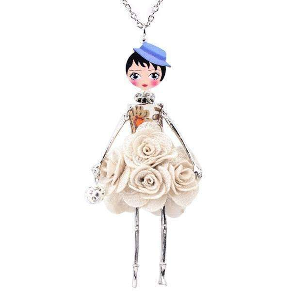 French Doll Flower Necklace-Beige-French Doll Flower Necklace-1-Shopeholic
