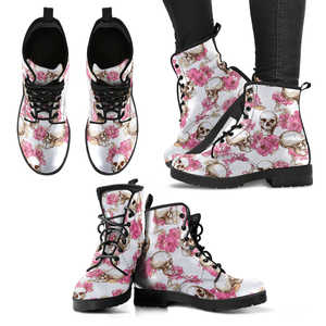 Shopeholic:Skull With Pink Flowers Women's Handcrafted Premium Boots