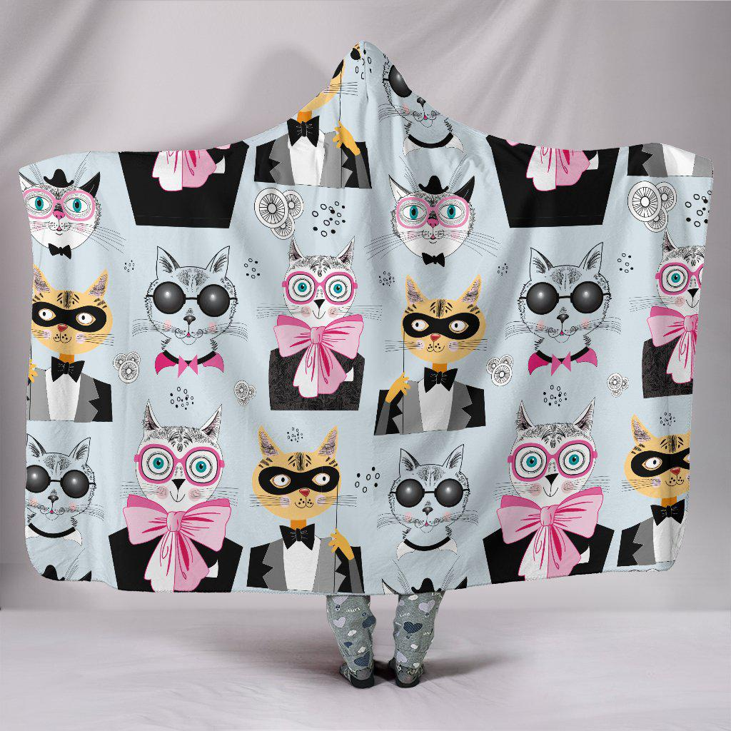 Shopeholic:Comic Cats Hooded Blanket