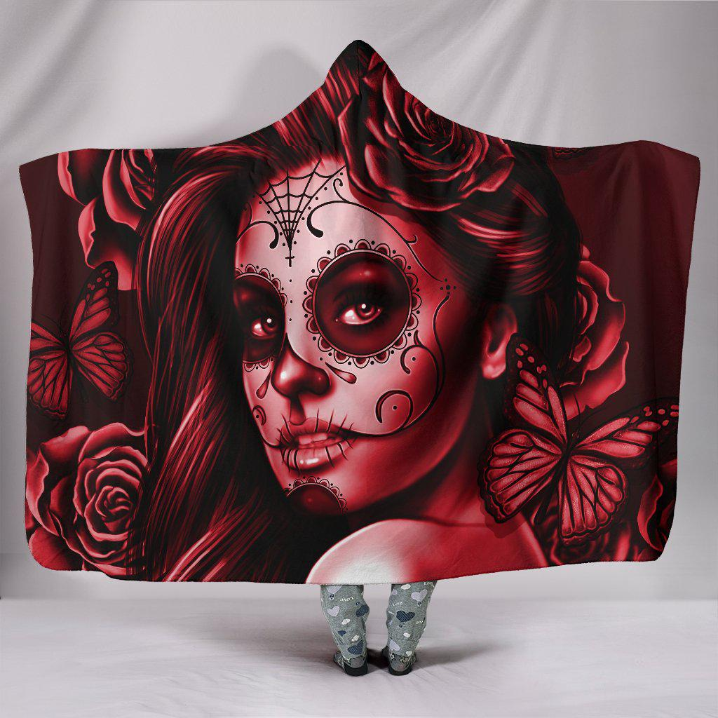 Calavera Girl - Maroon - Hooded Blanket