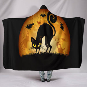Shopeholic:Black Cat Halloween Hooded Blanket