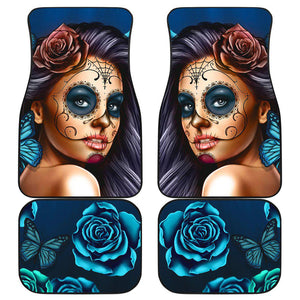 Shopeholic:Calavera Girl - Blue - Front and Back Car Floor Mats