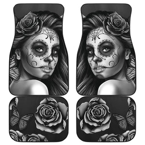 Shopeholic:Calavera Girl - Black and White - Front and Back Car Floor Mats