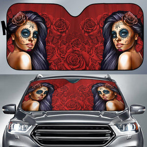 Calavera Girl - Red - Auto Sun Shade