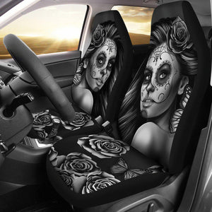 Calavera Girl - B/W - Car Seat Covers
