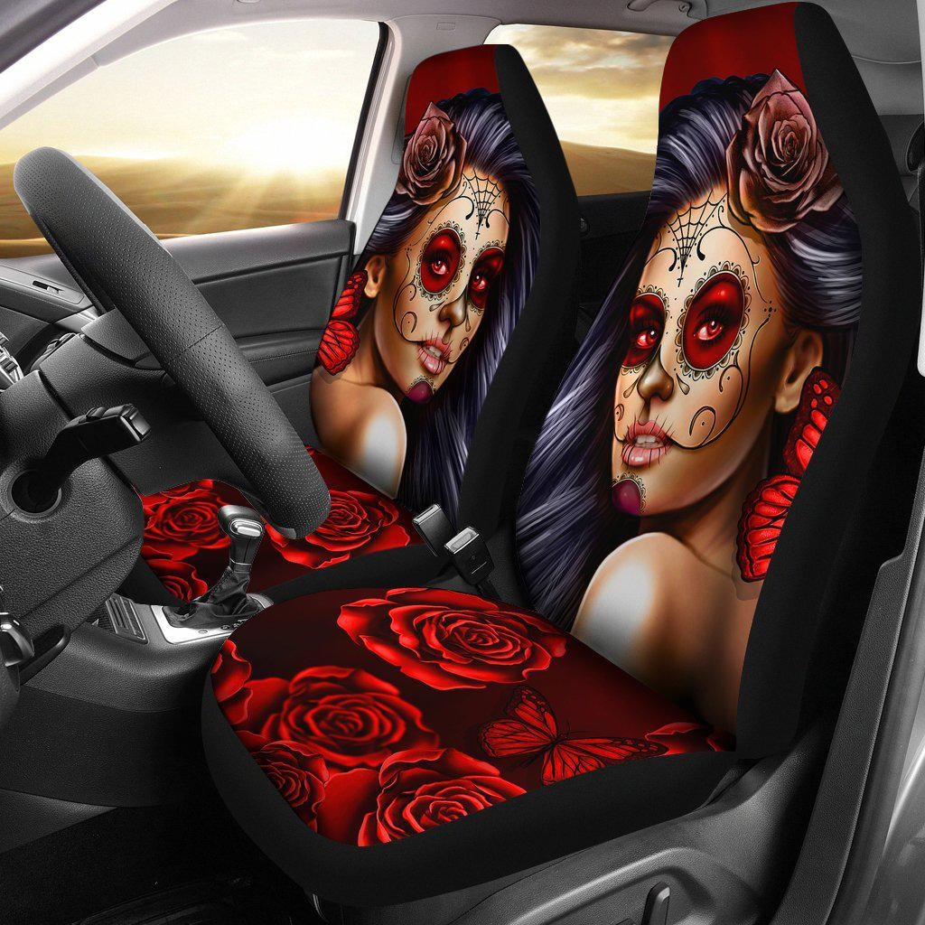 Shopeholic:Calavera Girl - Red - Car Seat Covers