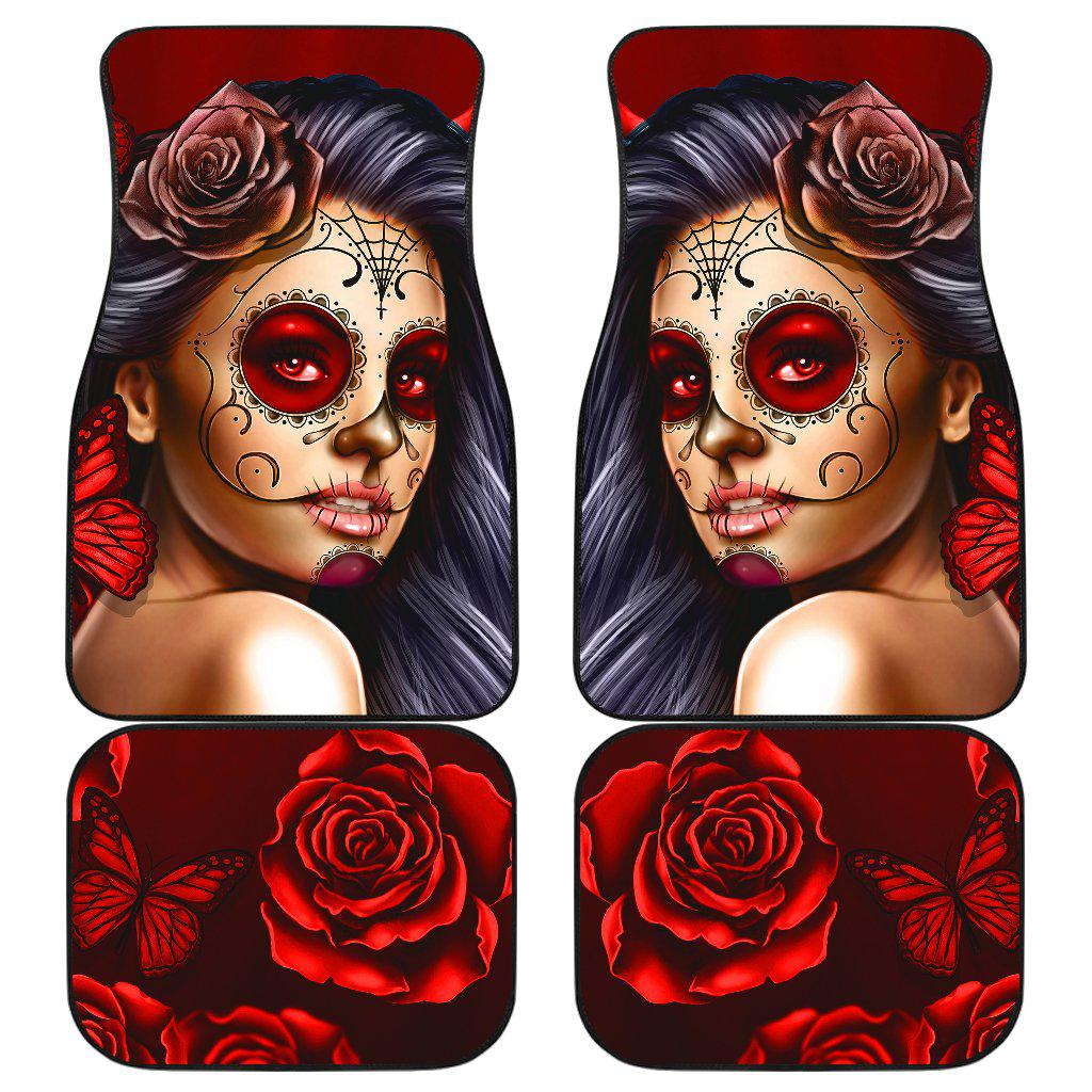 Shopeholic:Calavera Girl - Red - Front and Back Car Floor Mats