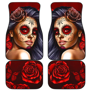 Calavera Girl - Red - Front and Back Car Floor Mats