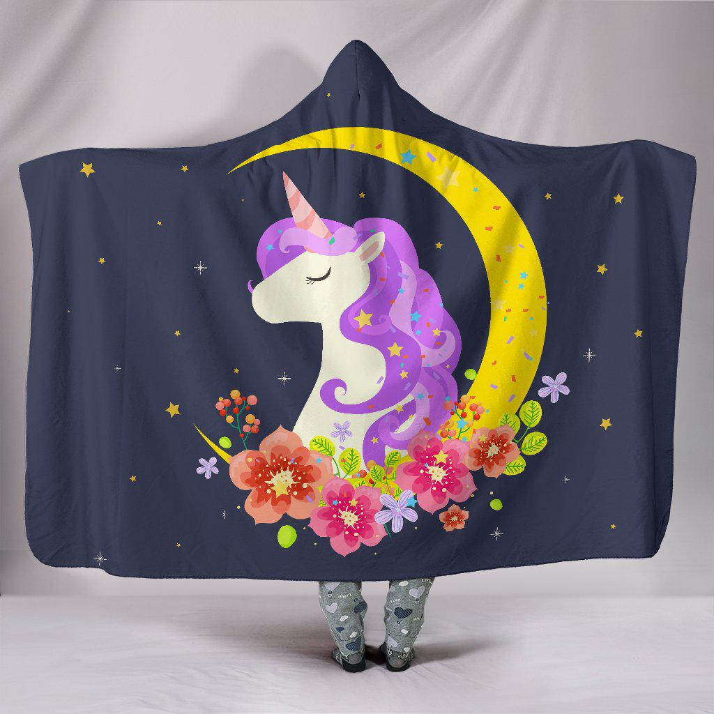 Shopeholic:Dark Blue Starry Night Crescent Moon Unicorn Hooded Blanket