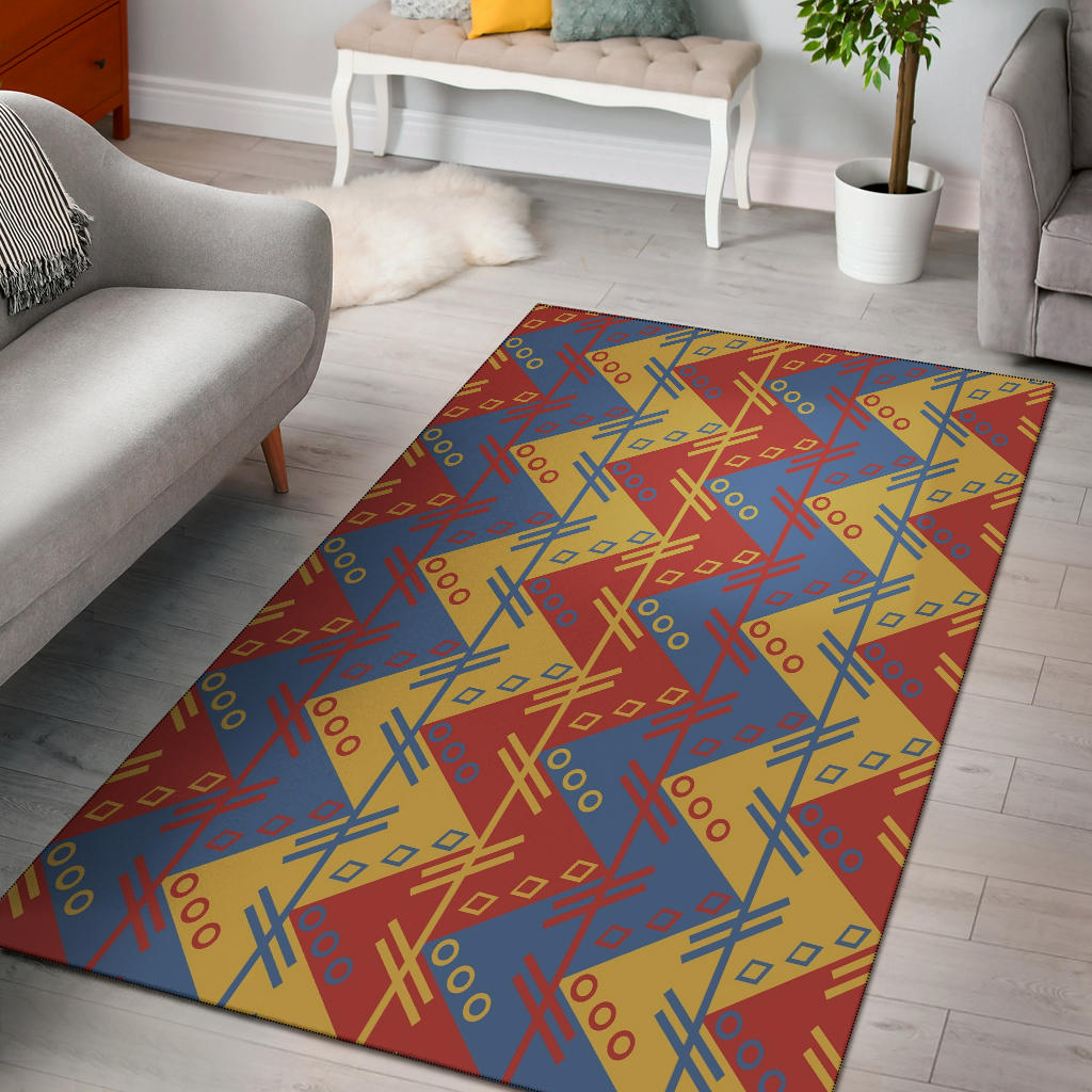 Shopeholic:Zigzag Design in Muted Red, Blue and Yellow Area Rug