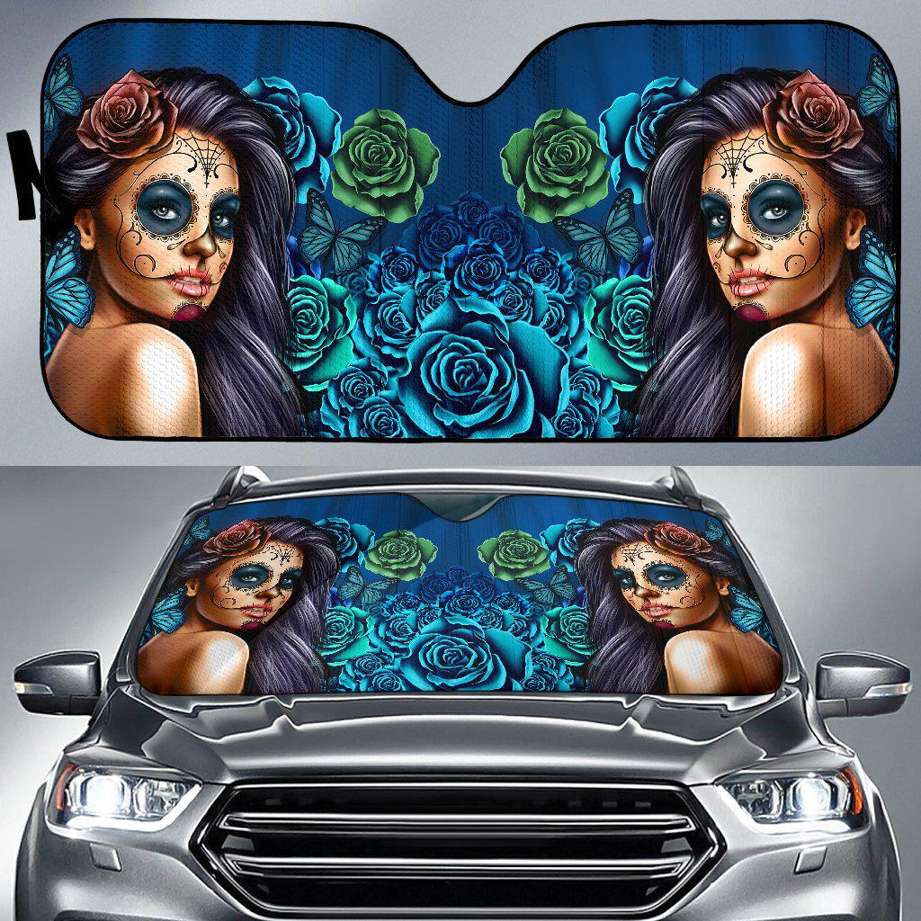 Shopeholic:Calavera Girl - Blue - Auto Sun Shade