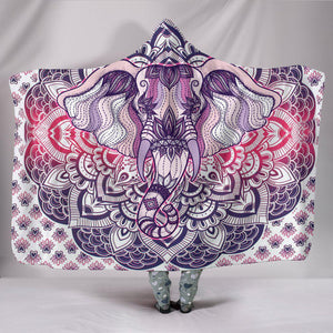 Shopeholic:Lucky Elephant Purple Mandala Hooded Blanket
