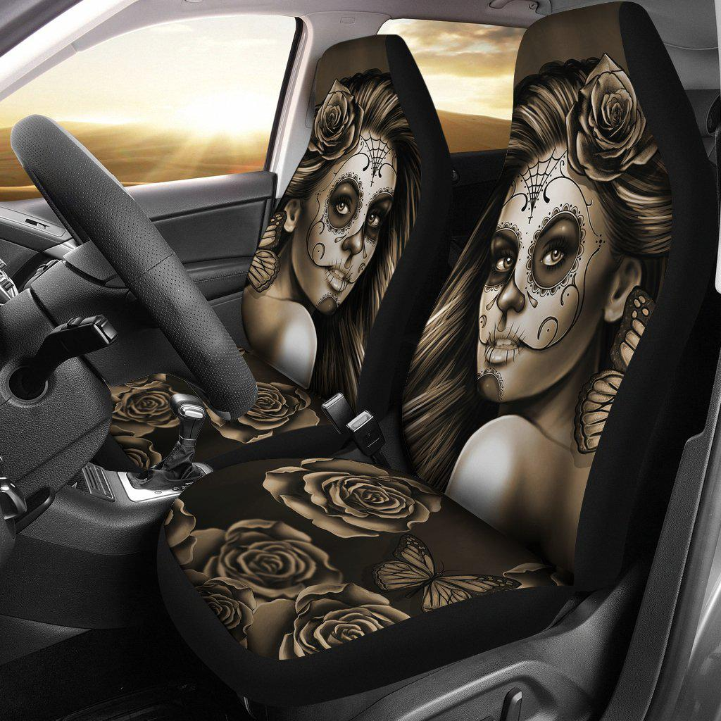 Shopeholic:Calavera Girl - Sepia - Car Seat Covers