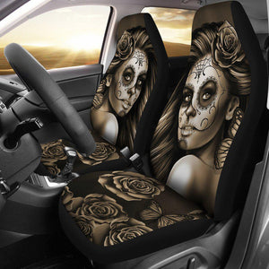 Calavera Girl - Sepia - Car Seat Covers