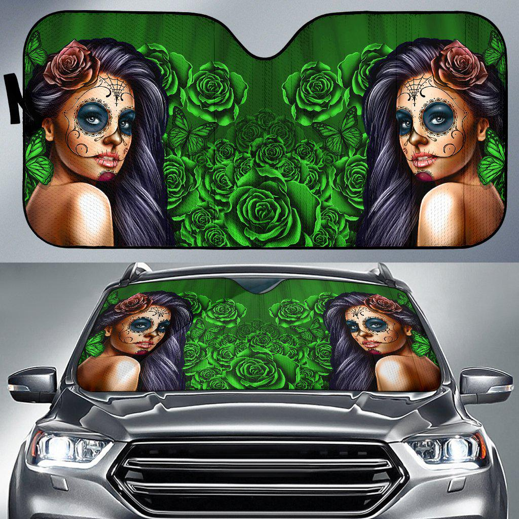 Shopeholic:Calavera Girl - Green - Auto Sun Shade