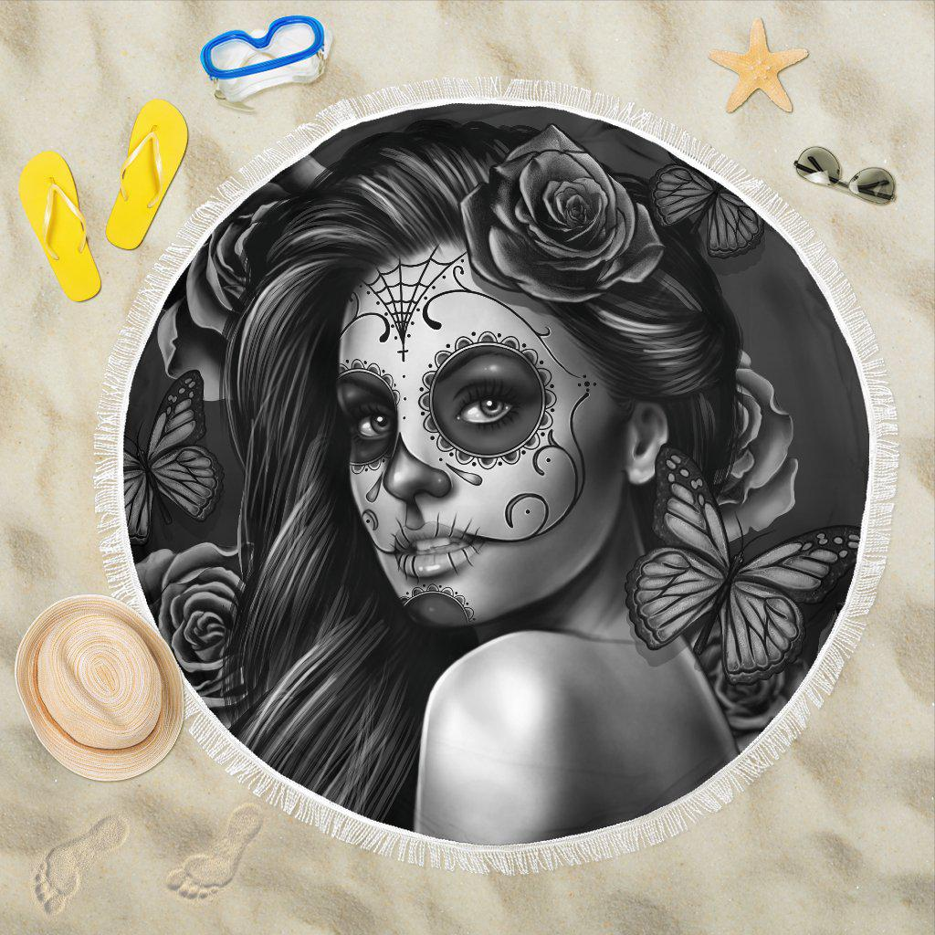 Shopeholic:Calavera Girl - B/W - Beach Blanket