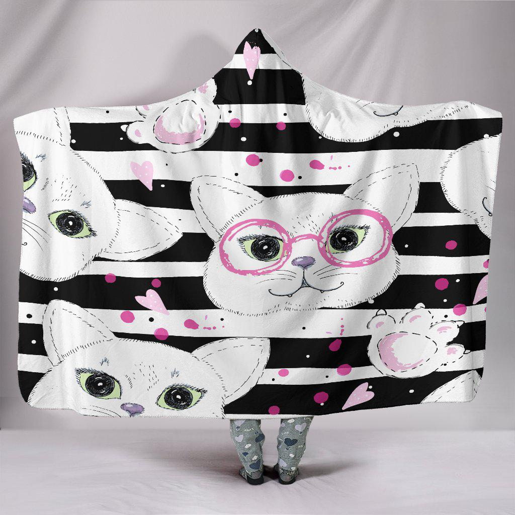 Shopeholic:Stripey Cats Hooded Blanket